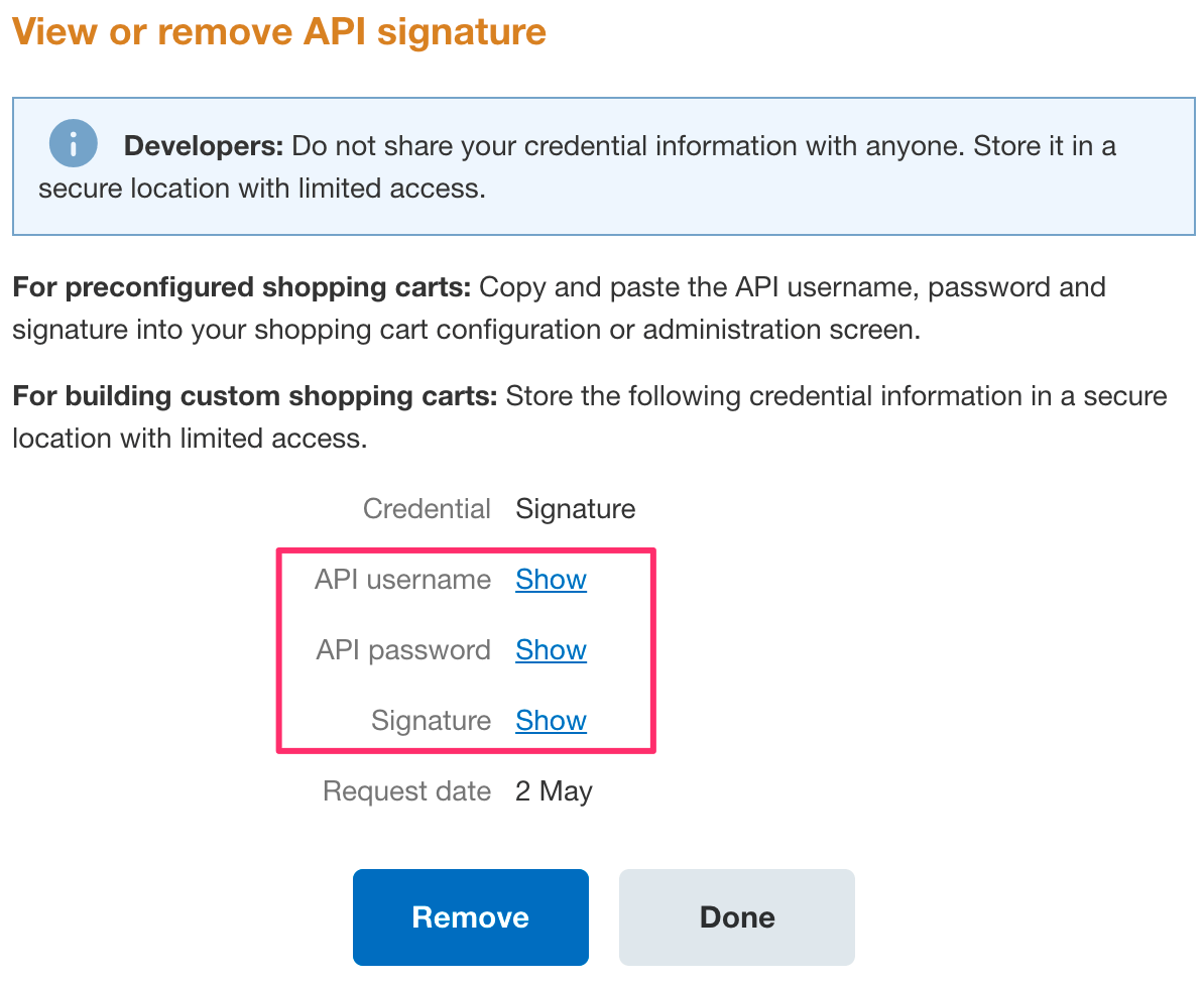 View or Remove API signature
