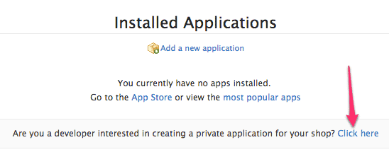 Set up a Private application in Shopify