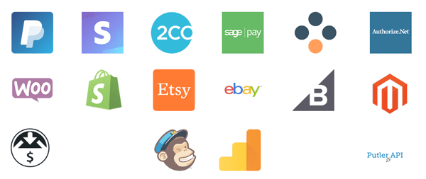 Putler syncs with all your favorite payment gateways, shopping carts and Google Analytics