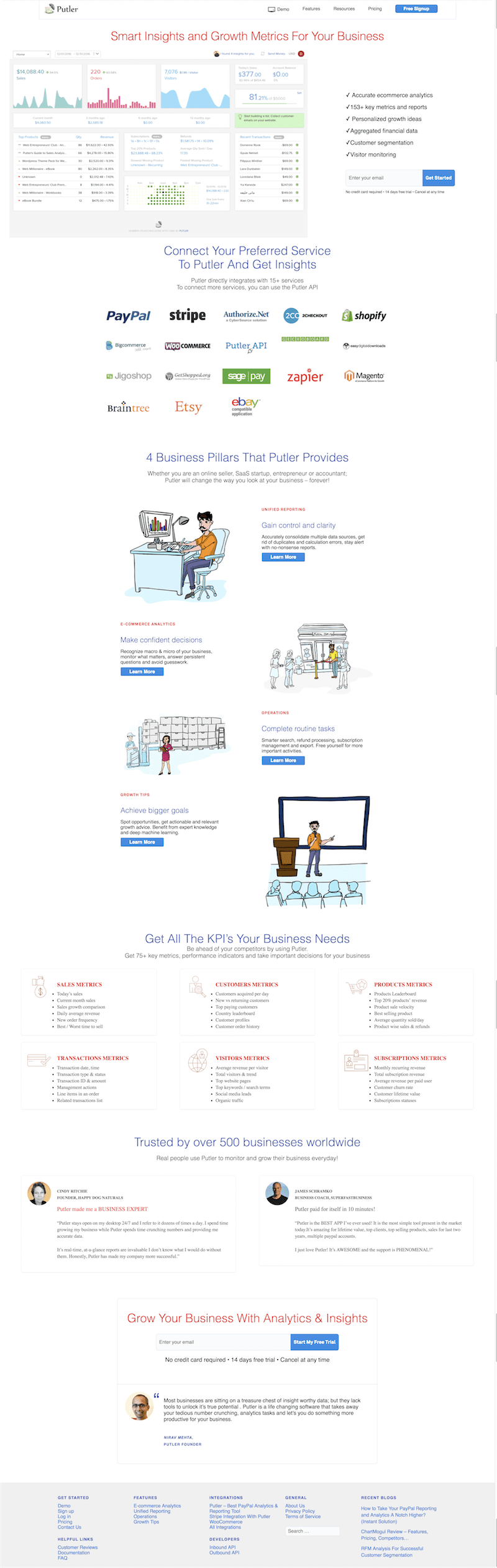 Putler Website in July 2017