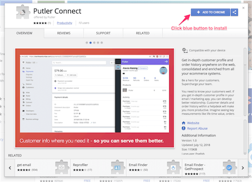 Putler Connect in Chrome Web Store