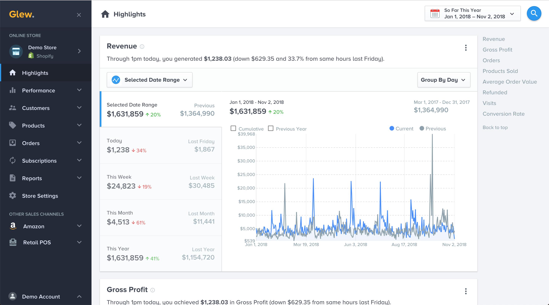Glew analytics software screenshot