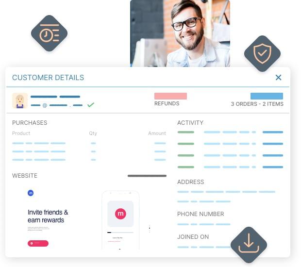 Enriched customer profiles, target segmentation, email, export...