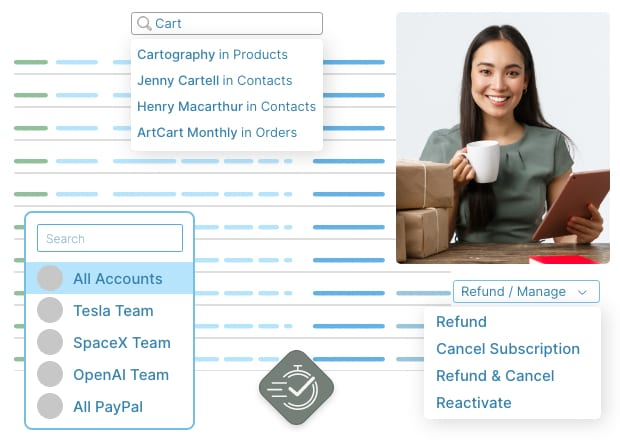 Search, refund and manage orders in seconds